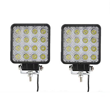 Недорогие Рабочее освещение авто-2шт автомобильные лампы 48 Вт 16 светодиодные рабочие фары для универсальных всех моделей всех лет