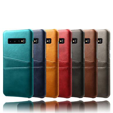 voordelige Galaxy S-serie hoesjes / covers-hoesje Voor Samsung Galaxy Galaxy S10 / Galaxy S10 Plus / Galaxy S10 E Kaarthouder / Stofbestendig / Waterbestendig Achterkant Effen Hard PU-nahka / PC