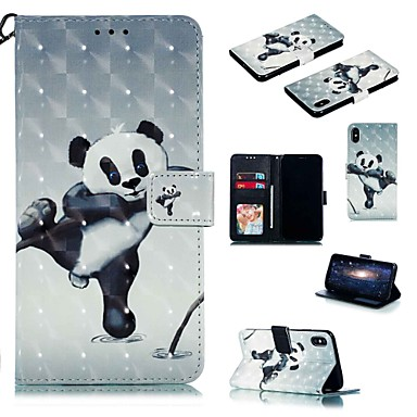 voordelige iPhone X hoesjes-hoesje voor apple iphone xr / iphone xs max flip / met standaard / schokbestendig full body cases cartoon / panda hard pu leer voor iphone 6 / 6s plus / 7/8 plus / xs / x