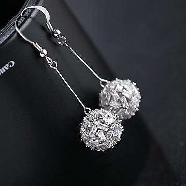 olcso Karika fülbevalók-Női Ezüst Kocka cirkónia Francia kapcsos fülbevalók S925 ezüst Fülbevaló Ékszerek Arany / Ezüst Kompatibilitás Esküvő Diákbál 1 pár