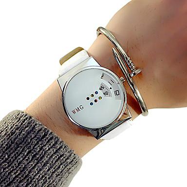 Недорогие Часы на кожаном ремешке-Муж. Нарядные часы Кварцевый Классика Секундомер Аналоговый Белый Черный / Два года / Кожа / Светящийся / Два года