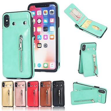 voordelige iPhone-hoesjes-hoesje voor apple iphone xs max / iphone 8 plus vloeiende vloeistof / schokbestendig / kaarthouder achterkant effen gekleurde zacht echt leer voor iphone 7/7 plus / 8/6/6 plus / xr / x / xs