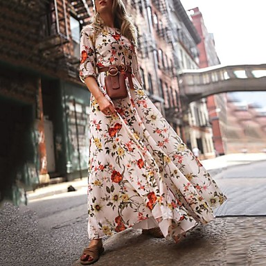 cheap Maxi Dresses-Women's Floral Long Maxi White Dress With Sleeve 2020 Ruffle Casual Spring Holiday Vacation Swing Flower Lantern Sleeve Flared Print S M