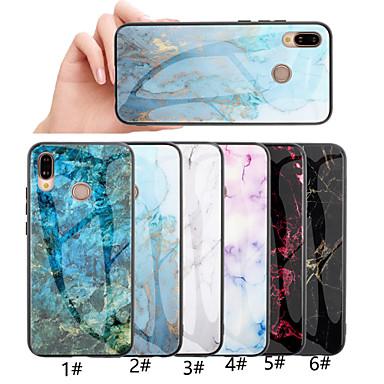 Недорогие Чехлы и кейсы для Huawei-Кейс для Назначение Huawei Huawei Honor 10 / Honor 10 Lite / Honor 9 С узором Кейс на заднюю панель Мрамор Твердый Закаленное стекло