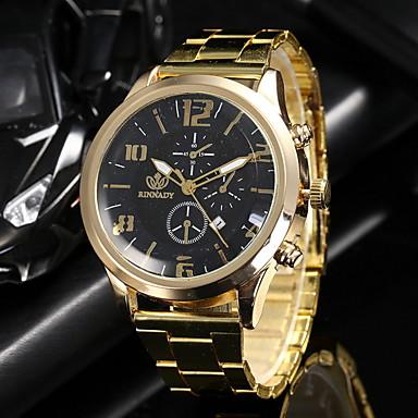 رخيصةأون ساعات الرجال-رجالي ساعة فستان كوارتز ساعة كاجوال مماثل كاجوال - أسود ذهبي