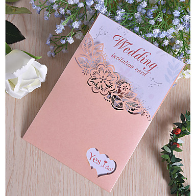 "cheap Wedding Reception-Side Fold Wedding Invitations 50pcs - Invitation Cards Pearl Paper 7 1/2 ""×6 1/4"" (19*13.5cm)"