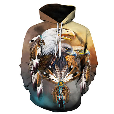 Men's Party / Casual Hoodie - 3D / Bird Camel US40 / UK40 / EU48