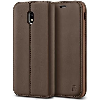 voordelige Galaxy J-serie hoesjes / covers-hoesje Voor Samsung Galaxy J3 (2017) Schokbestendig / met standaard Volledig hoesje Effen Hard PU-nahka
