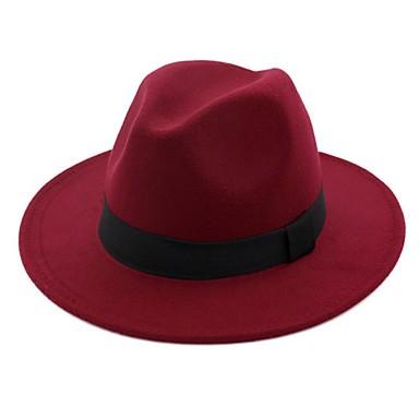 povoljno Modni dodaci za muškarce-Muškarci Jednobojni Osnovni 1930 Pamuk Vuna mješavine-Ribički šešir Fedora Šešir za sunce Ljeto Jesen Crn Fuksija Red