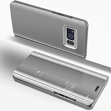 Недорогие Чехлы и кейсы для Galaxy S-Кейс для Назначение SSamsung Galaxy S8 Покрытие / Зеркальная поверхность / Флип Чехол Однотонный Твердый ПК