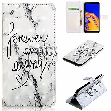 voordelige Galaxy J-serie hoesjes / covers-hoesje Voor Samsung Galaxy J7 (2017) / J7 (2016) / J6 (2018) Portemonnee / Kaarthouder / Schokbestendig Volledig hoesje Woord / tekst / Marmer Hard PU-nahka