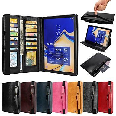 voordelige Samsung Tab-serie hoesjes / covers-hoesje Voor Samsung Galaxy Tab S4 10.5 (2018) / Tab A2 10.5(2018) T595 T590 / Tab S3 9.7 Portemonnee / Kaarthouder / Schokbestendig Volledig hoesje Effen Hard PU-nahka / aitoa nahkaa