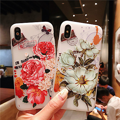tanie Etui do iPhone 6-Kılıf Na Jabłko iPhone XS / iPhone XR / iPhone XS Max Wytłaczany wzór / Wzór Osłona tylna Kwiat TPU