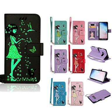 Недорогие Чехлы и кейсы для Galaxy S-Кейс для Назначение SSamsung Galaxy S9 / S9 Plus / S8 Plus Сияние в темноте / Кошелек / Бумажник для карт Чехол Кот / Соблазнительная девушка Твердый Кожа PU