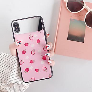 Недорогие Кейсы для iPhone-Кейс для Назначение Apple iPhone XS / iPhone XS Max / iPhone 8 Pluss Защита от пыли / Зеркальная поверхность / С узором Кейс на заднюю панель Продукты питания / Мультипликация Закаленное стекло / ПК