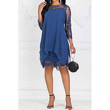 Недорогие Женская мода-Жен. Большие размеры Винный Темно синий Платье Весна На выход Оболочка Шифон Однотонный Кружева S M Тонкие
