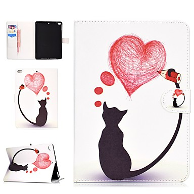 رخيصةأون أغطية أيباد-غطاء من أجل Apple ايباد ميني 5 / iPad Air / iPad Mini 3/2/1 محفظة / حامل البطاقات / ضد الصدمات غطاء كامل للجسم قطة / قلب قاسي جلد PU / iPad (2017)