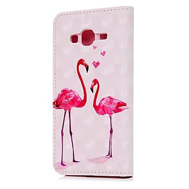 voordelige Galaxy J-serie hoesjes / covers-hoesje Voor Samsung Galaxy J3 (2016) Portemonnee / Kaarthouder / met standaard Volledig hoesje Tegel / Veren Hard PU-nahka