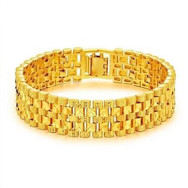 رخيصةأون أساور-رجالي أساور السلسلة والوصلة ستايل خلاق موضة دبي 18K الذهب مجوهرات سوار ذهبي من أجل مناسب للحفلات مناسب للبس اليومي