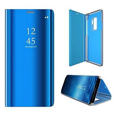 Недорогие Чехлы и кейсы для Galaxy S-Кейс для Назначение SSamsung Galaxy S9 Покрытие / Зеркальная поверхность / Флип Чехол Однотонный Твердый ПК