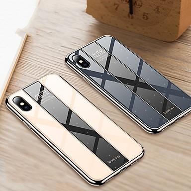 voordelige iPhone X hoesjes-hoesje Voor Apple iPhone XS / iPhone XR / iPhone XS Max Beplating Achterkant Effen Hard Gehard glas