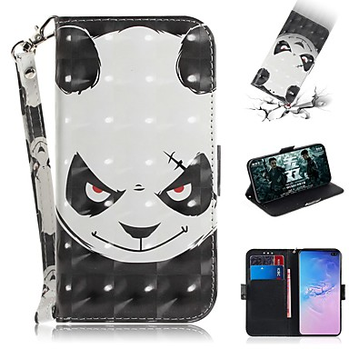 Недорогие Чехлы и кейсы для Galaxy S-Кейс для Назначение SSamsung Galaxy S9 / S9 Plus / S8 Plus Кошелек / Бумажник для карт / Защита от удара Чехол Панда Кожа PU