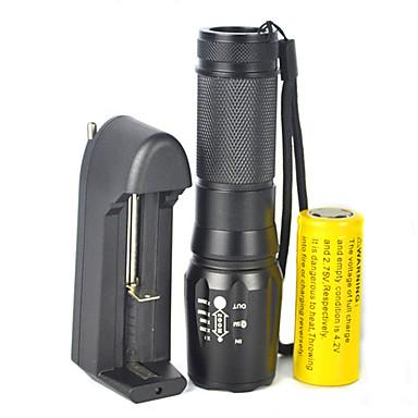 رخيصةأون مصابيح اليد-LED Flashlights 5000 lm LED LED بواعث 5 إضاءة الوضع مع البطارية والشاحن زوومابلي Adjustable Focus تخفيت Camping / Hiking / Caving أخضر السفر أسود