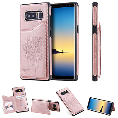 Недорогие Чехлы и кейсы для Galaxy Note-Кейс для Назначение SSamsung Galaxy Note 9 / Note 8 Бумажник для карт / Защита от удара / со стендом Кейс на заднюю панель Кот / дерево Твердый Кожа PU