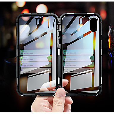 voordelige iPhone-hoesjes-luxe dubbelzijdig glas metalen magnetische behuizing voor iphone xs max iphone xr x 7 8 plus telefoon geval magneet dekking 360 volledige bescherming