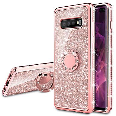 voordelige Galaxy S-serie hoesjes / covers-diamond 360 graden roterende ring houder plating zachte tpu glitter bling cases voor samsung s10 plus s10 5g s10 e s10 s9 plus s9 s8 plus s8 s7 rand s7 lichtgevende case