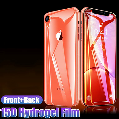 levne iPhone fólie na obrazovku-přední + zadní 15d ochranná hydrogelová fólie na iphone x xr xs max 8 7 6 6s plus ochranná fólie na obrazovku plný kryt ne sklo