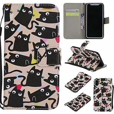 Недорогие Кейсы для iPhone X-Кейс для Назначение Apple iPhone XS / iPhone XR / iPhone XS Max Кошелек / Бумажник для карт / Флип Чехол Животное Твердый Кожа PU