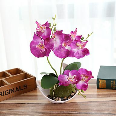 زهور اصطناعية فالاينوبسيس بونساي مع وعاء creativeh الديكورات المنزلية