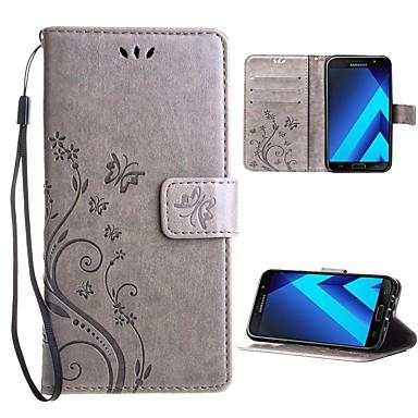 رخيصةأون حافظات / جرابات هواتف جالكسي A-غطاء من أجل Samsung Galaxy A5 (2017) محفظة / حامل البطاقات / ضد الغبار غطاء كامل للجسم لون سادة / فراشة / زهور قاسي جلد PU