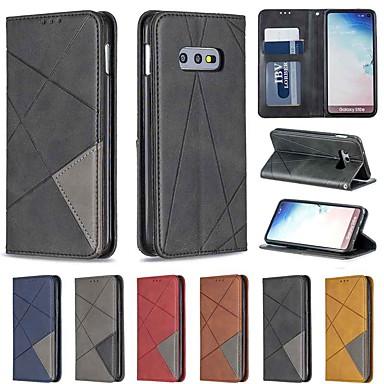 Недорогие Чехлы и кейсы для Galaxy S-Кейс для Назначение SSamsung Galaxy S9 / S9 Plus / Galaxy S10 Бумажник для карт / Защита от удара / со стендом Чехол Геометрический рисунок Твердый Кожа PU