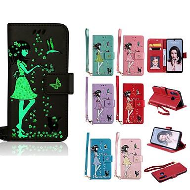 voordelige Huawei Mate hoesjes / covers-hoesje Voor Huawei Huawei P30 Lite / P10 Plus / P10 Lite Glow in the dark / Portemonnee / Kaarthouder Volledig hoesje Kat / Sexy dame Hard PU-nahka