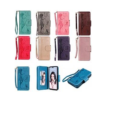 voordelige Huawei Y-serie hoesjes / covers-hoesje Voor Huawei Huawei P30 / Huawei P30 Pro / Huawei P30 Lite Portemonnee / Kaarthouder / met standaard Volledig hoesje Kat / Sexy dame Hard PU-nahka