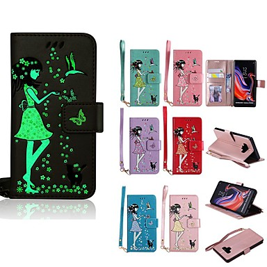 voordelige Galaxy Note-serie hoesjes / covers-hoesje Voor Samsung Galaxy Note 9 / Note 8 Glow in the dark / Portemonnee / Kaarthouder Volledig hoesje Kat / Sexy dame Hard PU-nahka