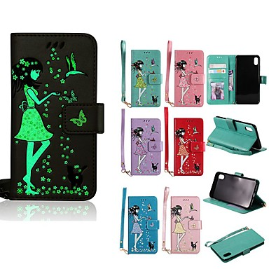voordelige iPhone 6 hoesjes-hoesje Voor Apple iPhone XS / iPhone XR / iPhone XS Max Glow in the dark / Portemonnee / Kaarthouder Volledig hoesje Kat / Sexy dame Hard PU-nahka