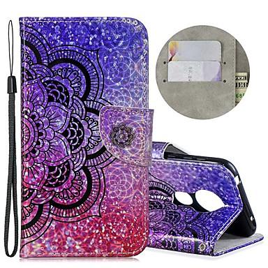 Недорогие Чехлы и кейсы для Motorola-Кейс для Назначение Motorola Мото G7 / Мото G7 Plus / Moto G7 Play Кошелек / Бумажник для карт / Защита от удара Чехол Сияние и блеск / Цветы Кожа PU