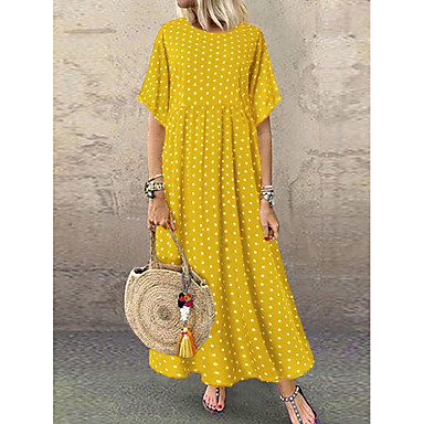 cheap Maxi Dresses-Women's A-Line Dress Maxi long Dress - Short Sleeve Polka Dot Print Summer Plus Size Casual Holiday Vacation Loose High Waist 2020 Wine Yellow Navy Blue L XL XXL XXXL XXXXL XXXXXL