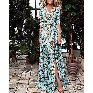 povoljno Maxi haljine-Žene 2020 Maxi Plava Haljina Proljeće Za odmor Swing kroj Geometrijski oblici V izrez Print S M