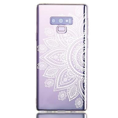Недорогие Чехлы и кейсы для Galaxy Note-Кейс для Назначение SSamsung Galaxy Note 9 Защита от удара / Прозрачный / С узором Кейс на заднюю панель Цветы ТПУ