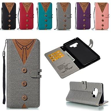 Недорогие Чехлы и кейсы для Galaxy Note-Кейс для Назначение SSamsung Galaxy Note 9 / Note 8 Бумажник для карт / Защита от удара / со стендом Чехол Геометрический рисунок Твердый холст