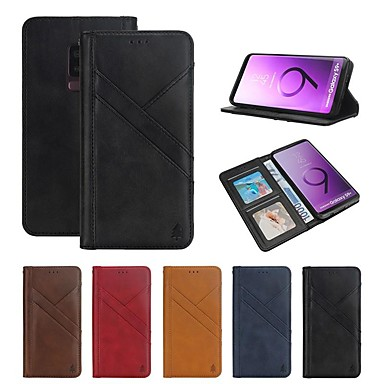 Недорогие Чехлы и кейсы для Galaxy S-Кейс для Назначение SSamsung Galaxy S9 / S9 Plus Кошелек / Бумажник для карт / Защита от удара Чехол Полосы / волосы Твердый Настоящая кожа