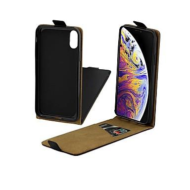 Недорогие Кейсы для iPhone X-Кейс для Назначение Apple iPhone XS / iPhone XR / iPhone XS Max Бумажник для карт / Защита от удара / Флип Чехол Однотонный Твердый Настоящая кожа