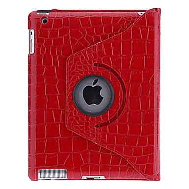 رخيصةأون أغطية أيباد-غطاء من أجل Apple iPad 4/3/2 دوران360ْ / مع حامل / نموذج غطاء كامل للجسم لون سادة / تمويه جلد PU