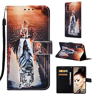 غطاء من أجل Samsung Galaxy Galaxy A7(2018) / Galaxy A10 (2019) / Galaxy A30 (2019) محفظة / حامل البطاقات / مع حامل غطاء كامل للجسم قطة / حيوان قاسي جلد PU