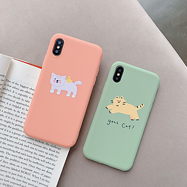 voordelige iPhone-hoesjes-hoesje Voor Apple iPhone XS / iPhone XR / iPhone XS Max Stofbestendig / Patroon Achterkant Kat / Cartoon TPU