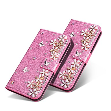 voordelige Galaxy A-serie hoesjes / covers-case voor Samsung Galaxy a70 (2019) / Galaxy a20e met standaard / strass / schokbestendig full body koffers glitter shine / flower hard pu leer voor Galaxy a9 (2018) / a10 (2019) / a30 / a50 / a40 /
